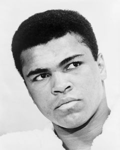 Bust photographic portrait of Muhammad Ali in 1967. World Journal Tribune photo by Ira Rosenberg.